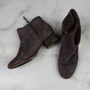 Trask Vivian Grey Suede Leather Ankle Boot sz 7